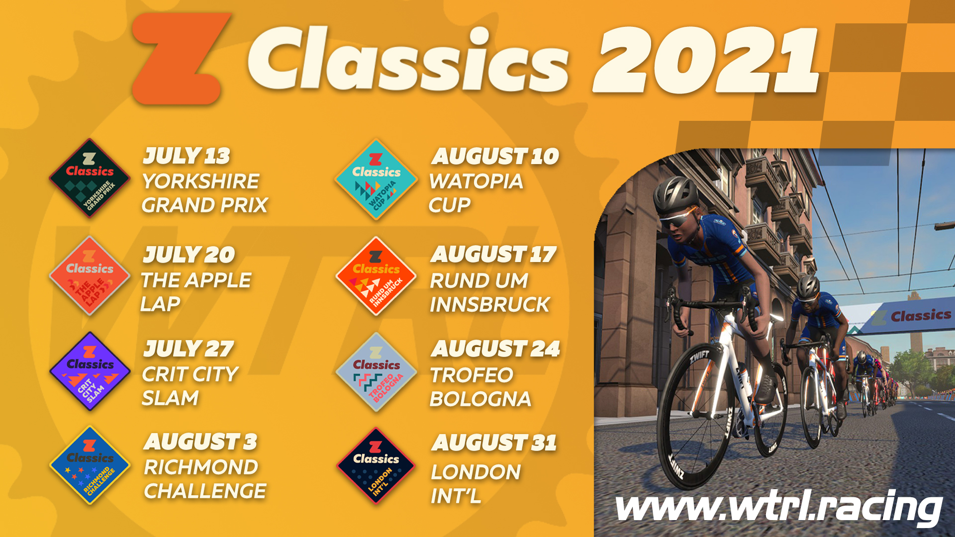 Zwift Classics 2021 in partnership with WTRL